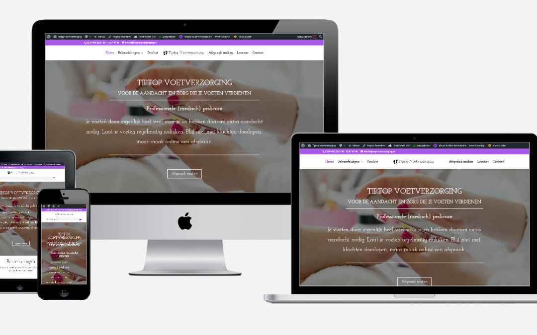 Content en website ontwikkeling 'Tiptop Voetverzorging'